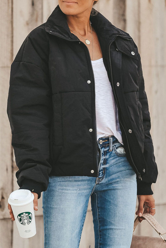 Black Holly Pocketed Puffer Jacket