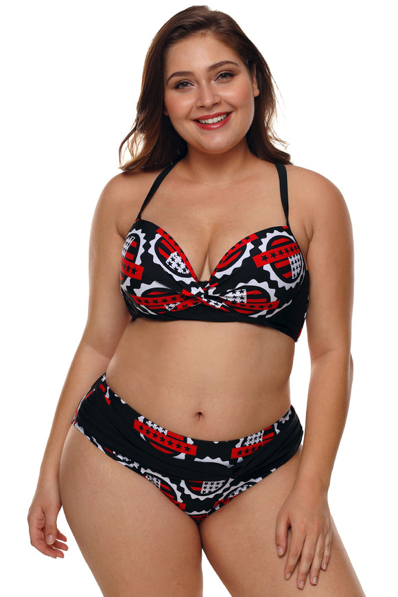 Plus Size Stars Print Pleated Bikini Swimsuit