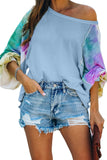 Sky Blue Contrast Tie Dye Thermal Knit Top