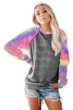 Gray Tie-Dyed Print Long Sleeve Sweatshirts