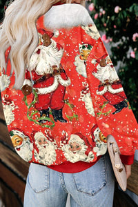 Red Merry Christmas Holiday Cartoon Print Sweatshirt