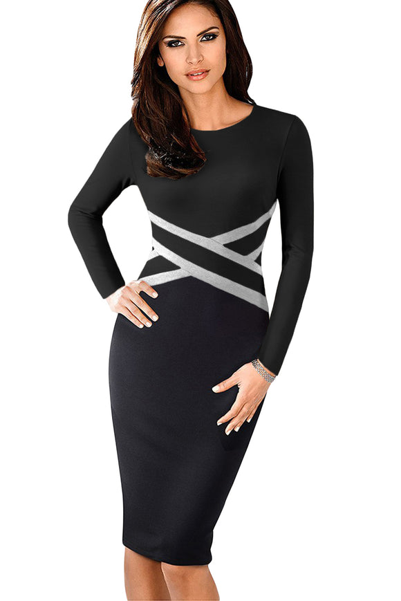 Black Contrast Waist Long Sleeve Sheath Dress