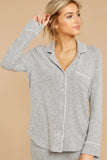Gray Long Sleeve Drawstring Button Loungewear
