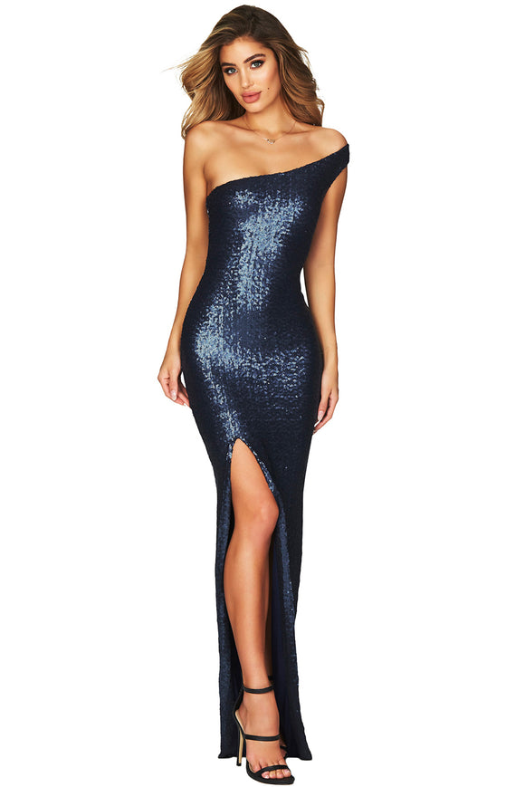 Navy One Shoulder High Split Sequined Gown Dress