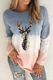 Gray Reindeer Print Gradient Colorblock Sweatshirt