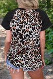 CrissCross White Leopard V Neck T-Shirt