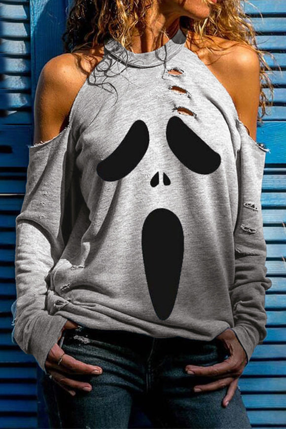 Gray Distressed Halloween Ghost Cold Shoulder Sweatshirt