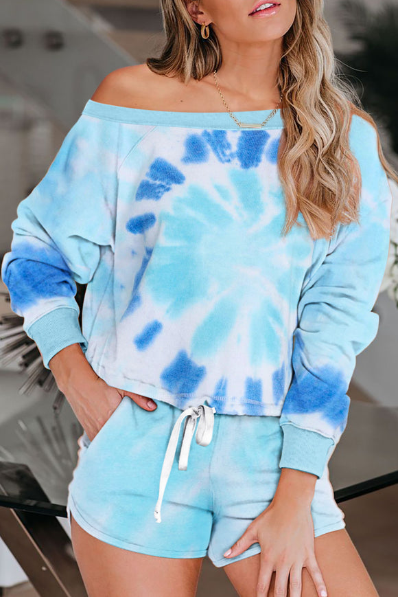 Sky Blue Tie Dye Printed Long Sleeve Tops and Shorts Pajamas Set