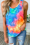 Tie Dye Criss-Cross Ruffled Casual Tank Top