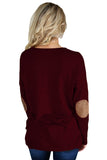 Burgundy Elbow Patch Sweatshirt
