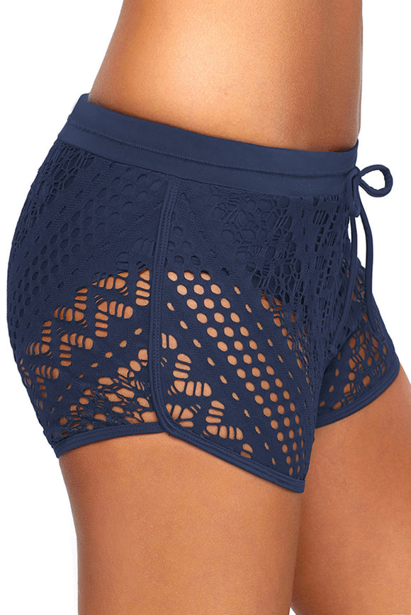 Blue Drawstring Waist Lace Panel Plus Size Swimwear Shorts