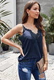 Blue V Neck Lace Scalloped Trim Vest