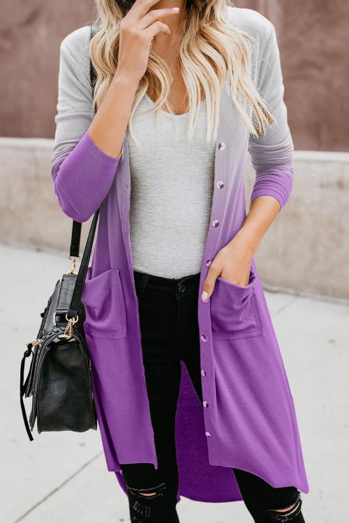 Purple Ombre Button Down Pocketed High Low Cardigan