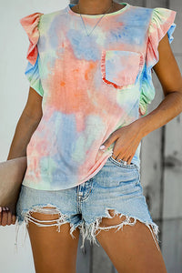 Orange Tie-dye Ruffled Cap Sleeve T-shirt