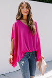 Draped Dolman Sleeves V Neck Blouse