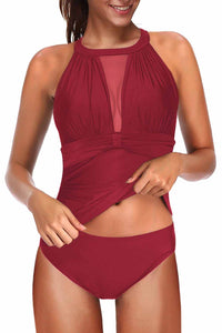 Red High Neck Plunge Mesh Ruched Tankini Swimwear