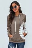 Women's Brown Oversized Pocket Front Print Sweatshirt Drawstring Hoodie