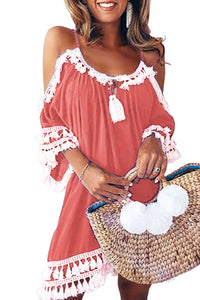 Pink Boho Tassel Tunic Cover up