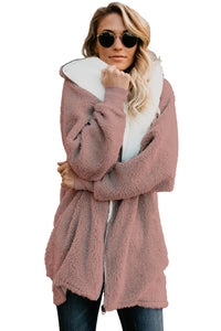 Dusty Pink Zip Down Hooded Fluffy Coat