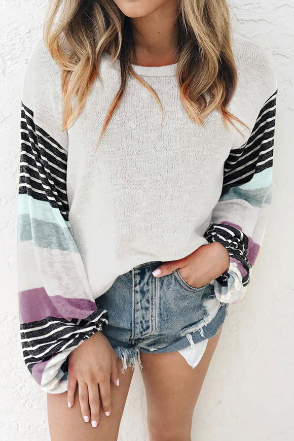 White Striped Colorblock Long Sleeve Knit Top