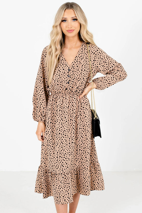 Brown Polka Dot Patterned Midi Dress
