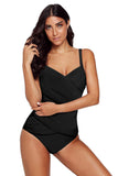 Black Spaghetti Strap Cross Front One Piece Swimwear