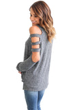 Grey Cold Shoulder Hollow Out Long Sleeve Top