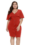 Orange Button Front Capelet Sheath Plus Size Dress
