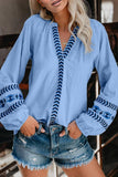 Sky Blue Istanbul Cotton Embroidered Peasant Blouse