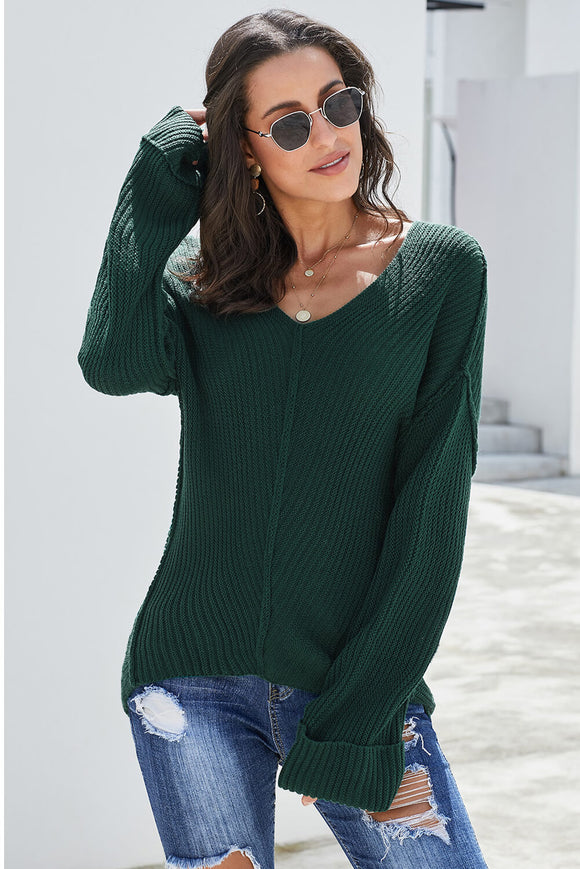 Green Textured V Neck Pullover Sweater