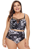 White Stylish Print Strappy Push Up Balconette Plus Size Bikini