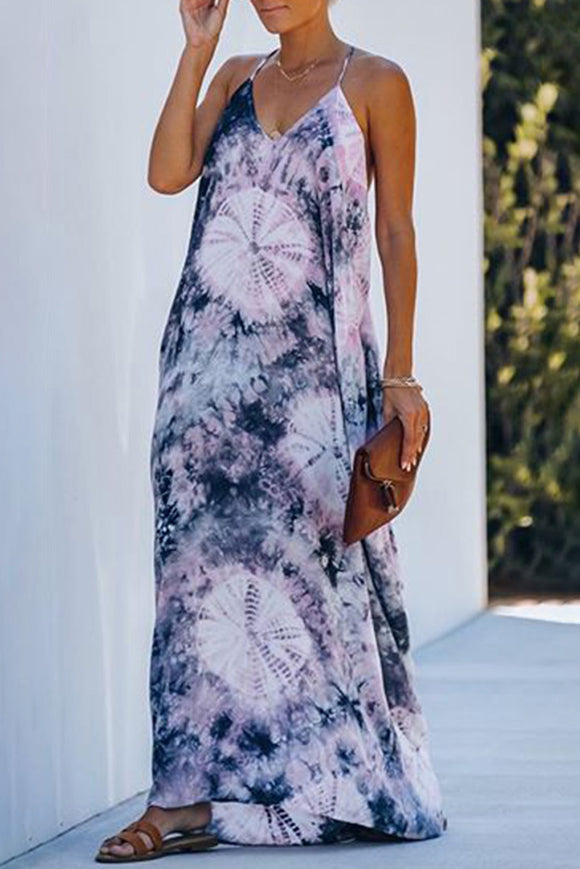 Blue Tie-dye Drape Maxi Dress