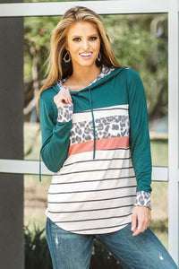 Green Color Block Striped Leopard Print Hoodie