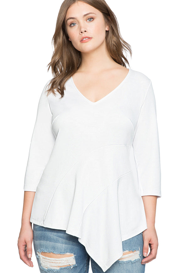 White Asymmetric Flounce Plus Size Peplum Top