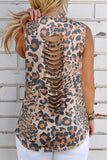Brown Leopard Hollow Out Casual Tank