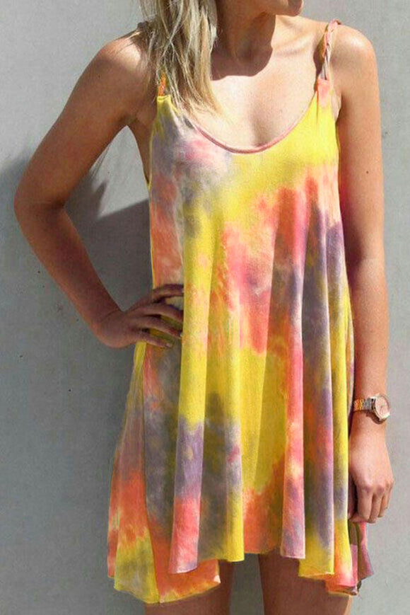 Yellow U Neck Gradient Color Printed Sling Sleeveless Swing Mini Dress