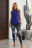 Blue Larger Than Life Neck Tie Tank Top