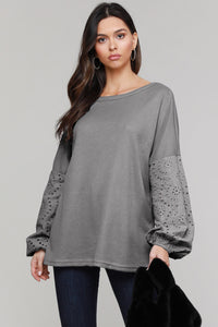 Gray Loose Casual Puffy Sleeve Top