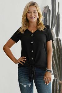 Black Button up Front Tie Detail Woven Top