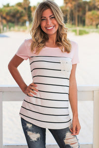 Pink Splice Striped Short Sleeve T-shirt