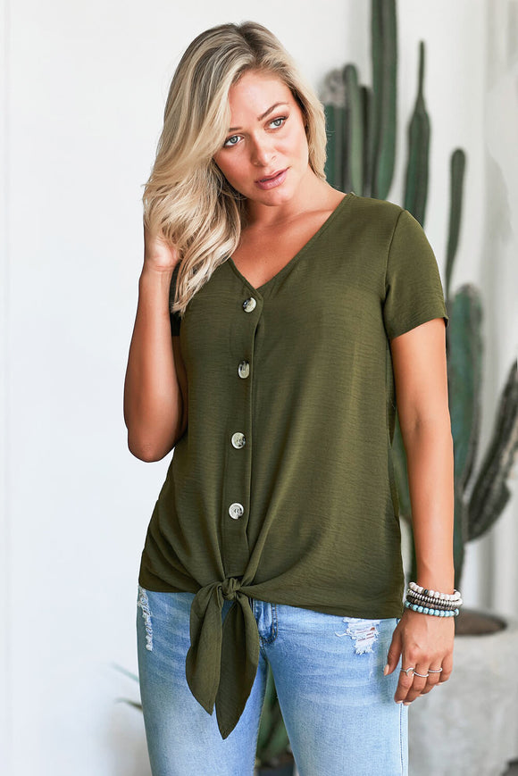 Green Button up Front Tie Detail Woven Top