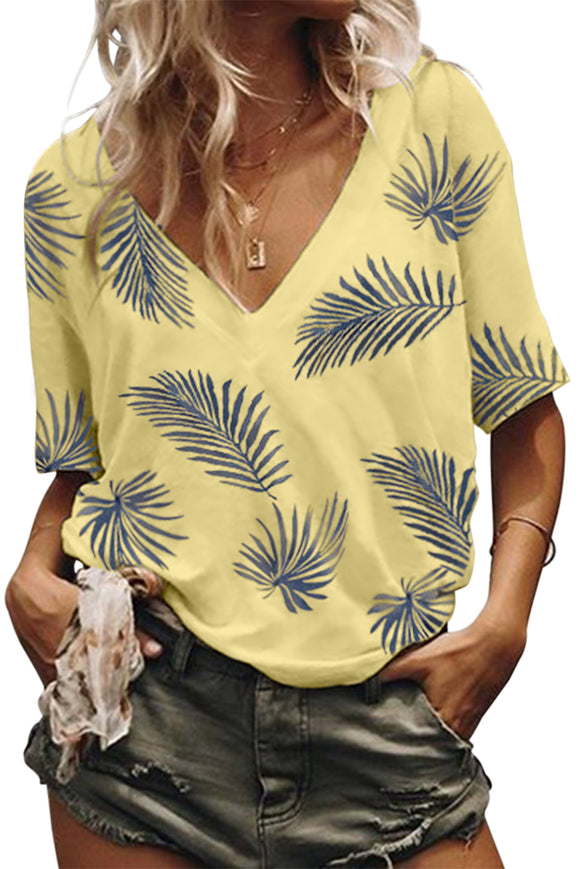 Yellow Casual V Neck Plant Print Tee