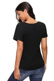 Black V-Neck Twist Ruched Basic Short Sleeve Tee