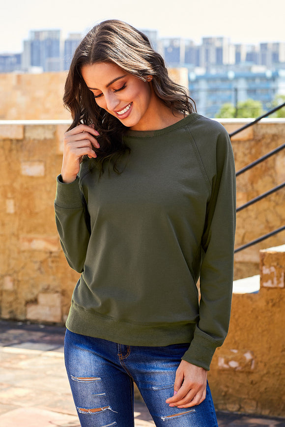 Green French Terry Cotton Blend Pullover Sweatshirt