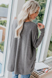 Gray Oversize Zipped Red Lips Long Sleeve Top with Pockets