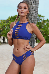 Royal Blue 2pcs Knotted Cutout High Neck Swimsuit
