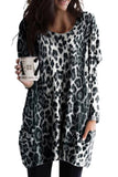 Gray Leopard Print Long Sleeve Casual Top