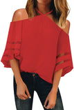 Red Spaghetti Halter Off The Shoulder Three Quarter Sleeve Shirt