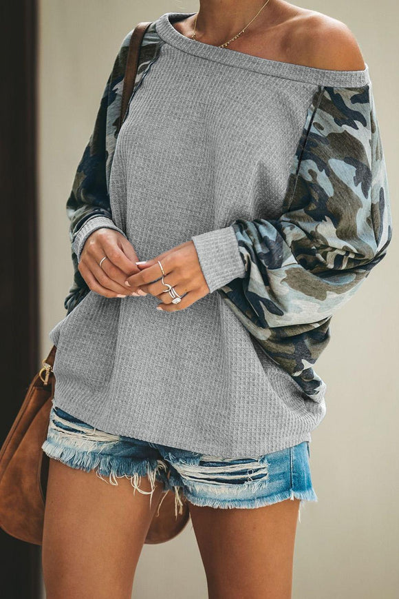 Gray Squadron Thermal Camo Contrast Dolman Top