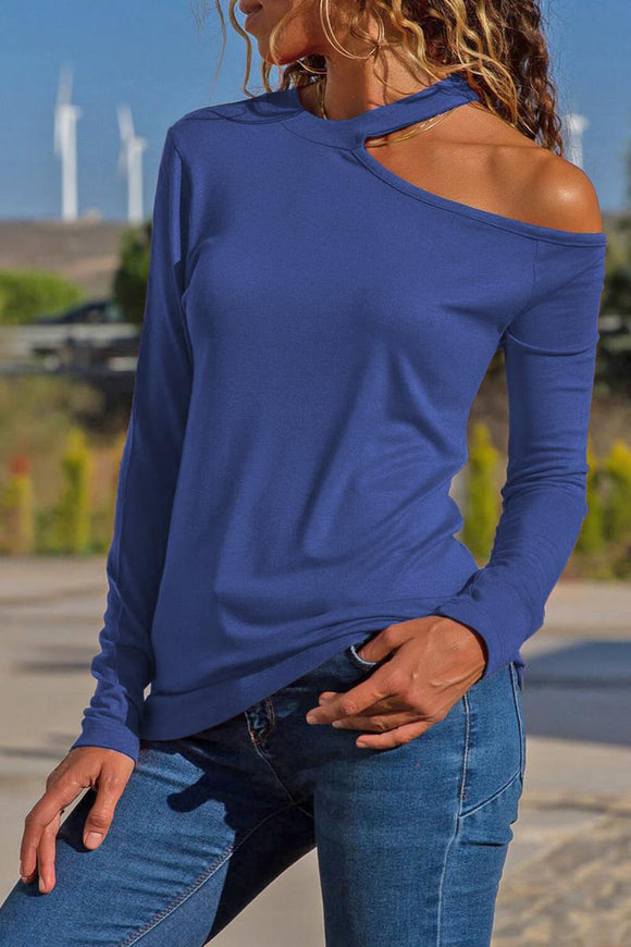 Blue Cotton-Blend Long Sleeve Halter Cutout Blouse